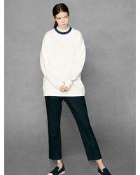 VOIEBIT [unisex] V311 Double Neck Sweatshirt Blue