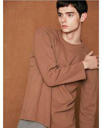 VOIEBIT Brown [unisex] V516 Basic Soft Round Knit for men