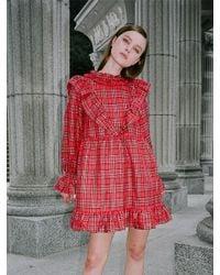 CLUT STUDIO Red 0 6 Tartan Check Ruffle Dress