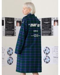 TARGETTO - Oversize D-ring Mac Coat Green Check - Lyst
