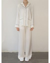 W Concept Natural 2 Pocket Pj And Lounge Set Cream