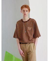 APPARELXIT [unisex] Light House Stripe T-shirts Brown for men