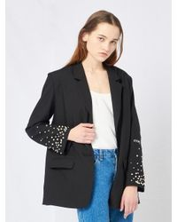 W Concept - Black Pearl Studded Sleeve Jacket - Lyst
