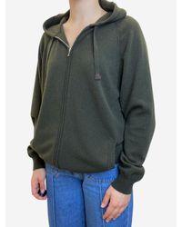 CONNOLLY Dark Green Cashmere Zip Up Hoodie
