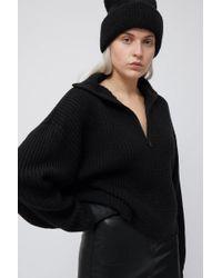 Weekday Black Alissa Zip Sweater