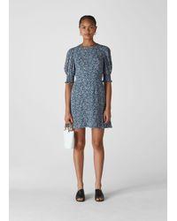 Whistles Blue Josefina Etched Print Dress