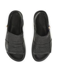 Whistles Black Alba Ruched Footbed Sandal