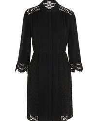 Whistles Black Lizzie Lace Shirt Dress