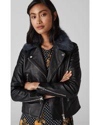 Whistles Black Toscana Collar Leather Jacket