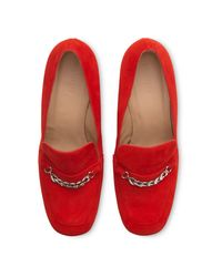 Whistles - Red Alma Chain Suede Loafer - Lyst
