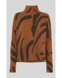 Whistles Multicolor Animal Funnel Neck Wool Knit