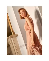 Whistles Pink Lilian Pleated Lace Mix Dress