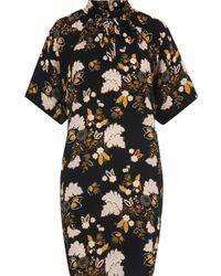 Whistles Black Tie Neck Belize Print Dress