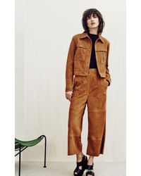 Whistles Brown Colbert Suede Leather Trousers