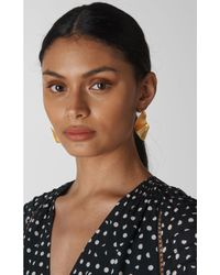 Whistles Metallic Large Textured Swirl Earring