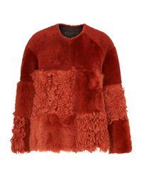 Whistles Orange Helvin Cow Shearling Jacket