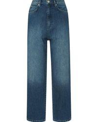 Whistles Blue Side Stripe Wide Leg Jean