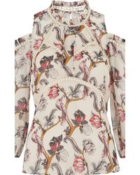 Whistles White Bird Print Silk Top