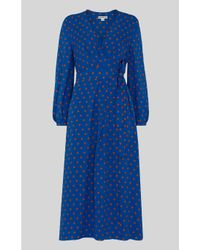 Whistles Blue Maria Spot Silk Wrap Dress