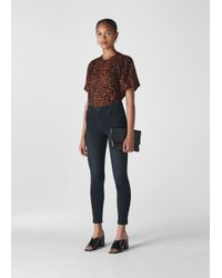 Whistles Brown Brushed Leopard Print Top