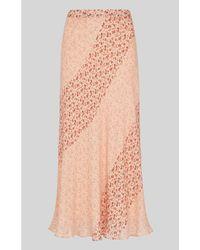 Whistles Pink Flower Berry Print Silk Skirt