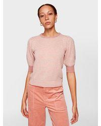 White + Warren Pink Cashmere Puff Sleeve Striped Crewneck