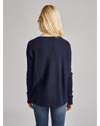 White + Warren Blue Cotton Asymmetric Laced V Neck