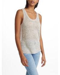 White + Warren - Gray Linen Blanket Stitch Tank - Lyst