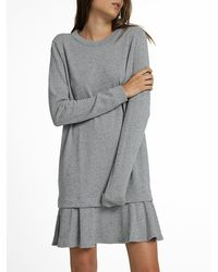 White + Warren - Gray Combed Cotton Ruffle Hem Dress - Lyst
