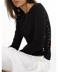 White + Warren | Black Cashmere Pointelle Crewneck | Lyst
