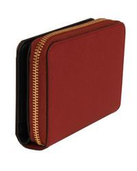 Wilsons Leather Red Famous Maker Small Bryant Carryall Saffiano Leather Wallet
