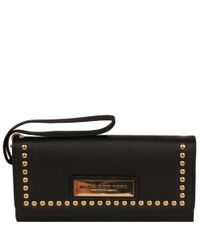 Wilsons Leather Black Marc New York Studded Flapover Faux-leather Wallet