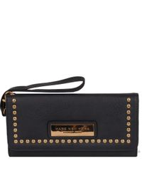 Wilsons Leather Blue Marc New York Studded Flapover Faux-leather Wallet