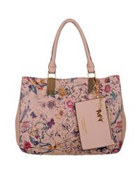Wilsons Leather Pink Marc New York Embroidered Faux-leather Tote W/ Removable Wristlet