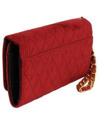 Wilsons Leather Red Marc New York Velvet Flapover Wallet W/ Wristlet Strap
