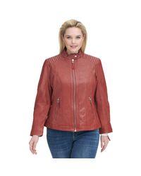 Wilsons Leather Red Plus Size Vintage Lamb Jacket W/ Shoulder Zippers