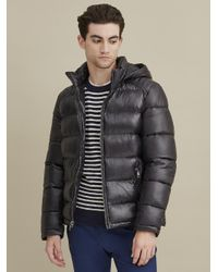 Wilsons Leather Black Heavyweight Puffer With Removable Hood for men