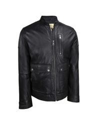 Wilsons Leather Black Vintage Center Zip Leather Jacket W/ Pocket Detail for men