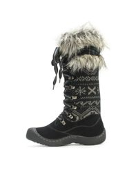 Wilsons Leather Black Muk Luks® Faux Fur Trim Cold Weather Laced Boot