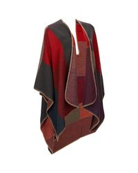Wilsons Leather Clr Block Rev Ruana/wo/red/gld/pur