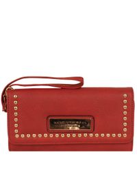 Wilsons Leather Red Marc New York Studded Flapover Faux-leather Wallet
