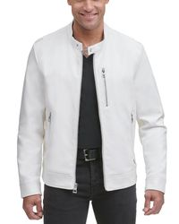 Wilsons Leather White Faux-leather Jacket With Zip Pockets for men