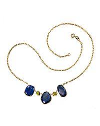 Xanthe Marina - Blue Lapis Lazuli & Peridot Gold Necklace - Lyst