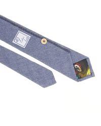 40 Colori Blue Herringbone Cotton Tie for men