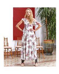 LEFON New York Multicolor Floral Chiffon One-shoulder Maxi Dress