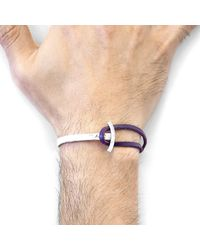 Anchor & Crew Metallic Grape Purple Galleon Anchor Silver & Flat Leather Half Bangle for men