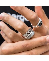 Serge Denimes Metallic Silver Feather Ring for men