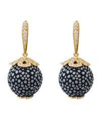 Latelita London - Stingray Ball Drop Earring Gold Lapis Blue - Lyst