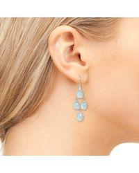 Latelita London - Metallic Mini Cascade Earring Gold Aqua Chalcedony - Lyst