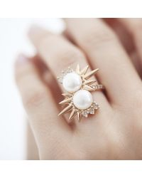 Joana Salazar - Metallic Spike Pearl Double Ring - Lyst